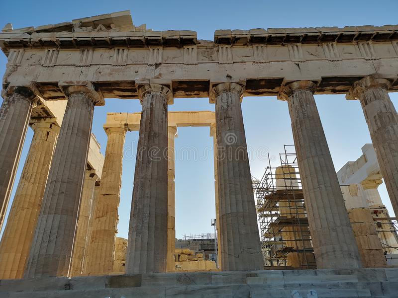 The acropolis of Athens, Greece. Ruins of the ancient acropolis of Athens, Greece royalty free stock photos