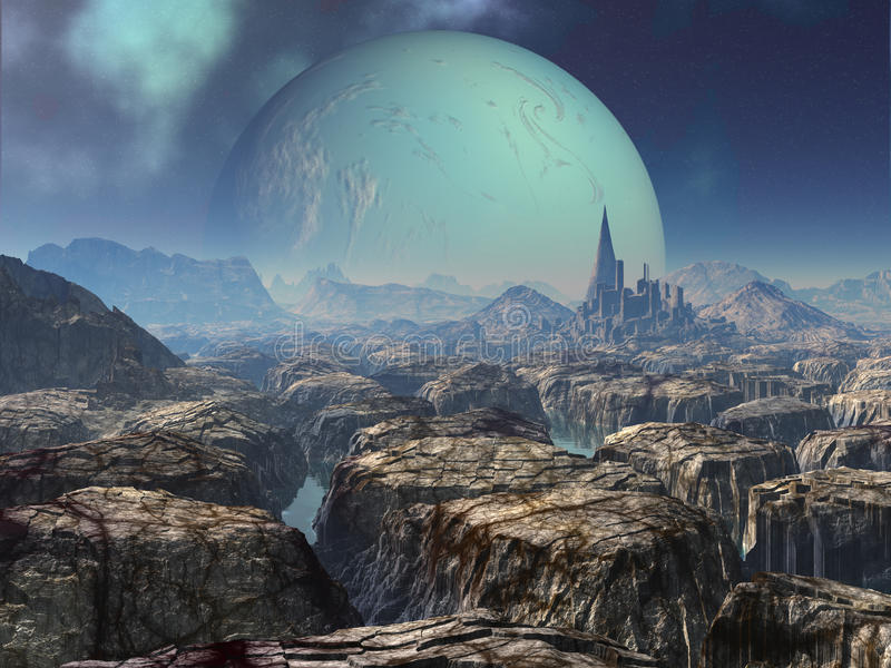 Download Ruins Of Ancient Alien City Stock Illustration - Image: 17600699
