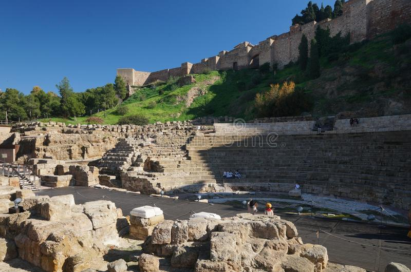 Roman Amphitheater in the Andalusian city of Malaga, Spain royalty free stock photography
