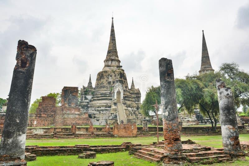 Ruins of ancient Ayutthaya Kingdom in Thailand royalty free stock image