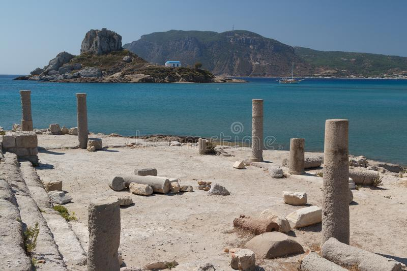 Ruins of the ancient basilica in Kefalos town on Kos island royalty free stock image