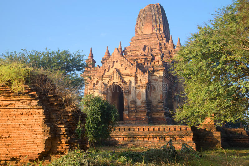 The ruins of the ancient Buddhist temple, morning sun. Bagan, Myanmar royalty free stock image