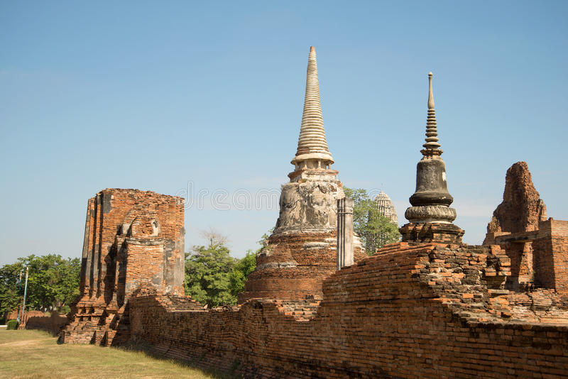 Ruins of the ancient Buddhist temple Wat Mahathat on a sunny afternoon. Ayutthaya, the ancient capital of Thailand royalty free stock photos