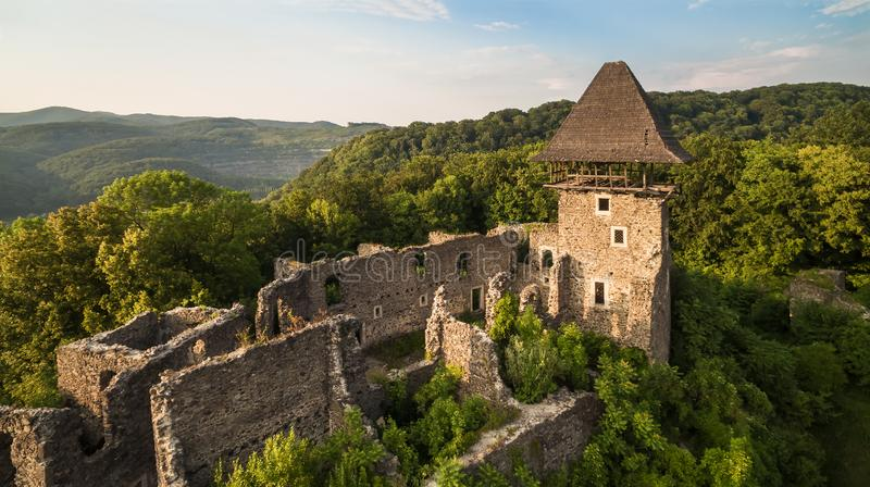 The ruins of an ancient castle built in the 13th century - Nevitsky castle stock photos