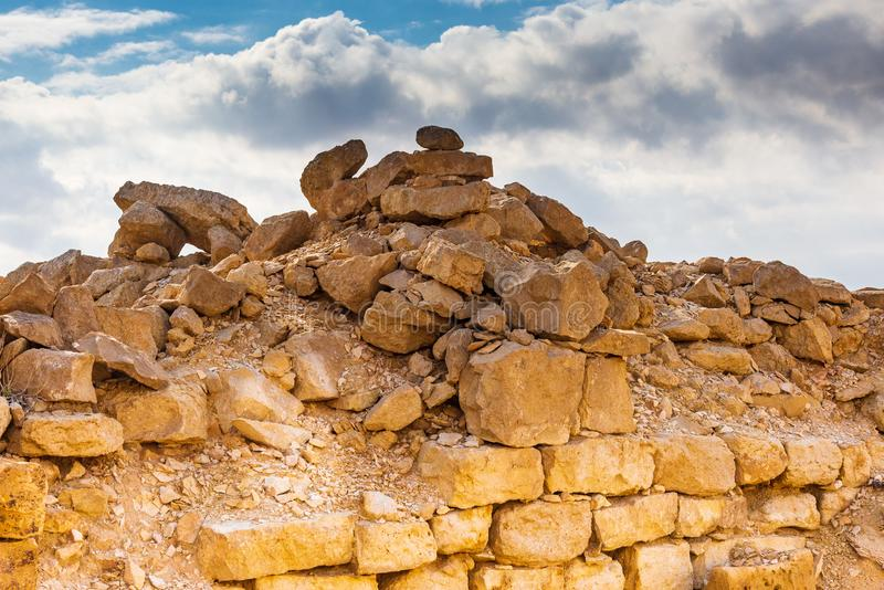 Ruins of an ancient Christian Nabatean city in Israel`s Negev desert. SHIVTA, ISRAEL / FEB 18, 2018:  This ancient Christian Nabatean city in Israel`s Negev royalty free stock photography