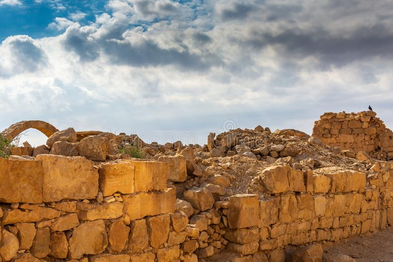 Ruins of an ancient Christian Nabatean city in Israel`s Negev desert. SHIVTA, ISRAEL / FEB 18, 2018:  This ancient Christian Nabatean city in Israel`s Negev royalty free stock images