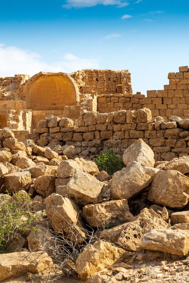 Ruins of an ancient Christian Nabatean city in Israel`s Negev desert. SHIVTA, ISRAEL / FEB 18, 2018:  The ruins of a church in this Christian Nabatean city in royalty free stock photography