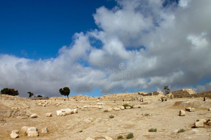 Ruins of the ancient citadel in Amman. Jordan royalty free stock photo