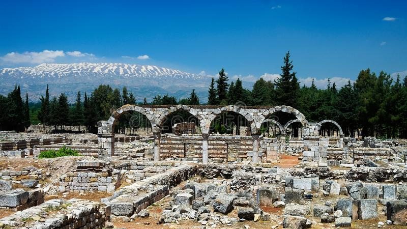 Ruins of ancient city Anjar, Bekaa valley Lebanon stock photo
