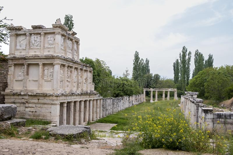Ruins of the ancient city of aphrodisias Roman Baths Ruins , Aydin, Turkey. Aphrodisias was a ancient Greek city in western Anatolia ,Aydin,Turkey stock photos