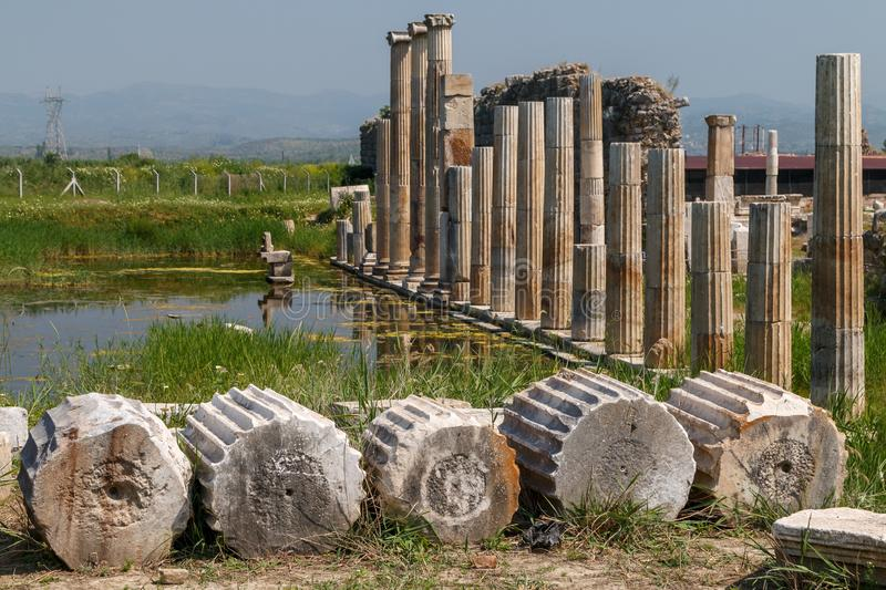 Ruins of the ancient city Magnesia Magnesia on the Maeander stock photos