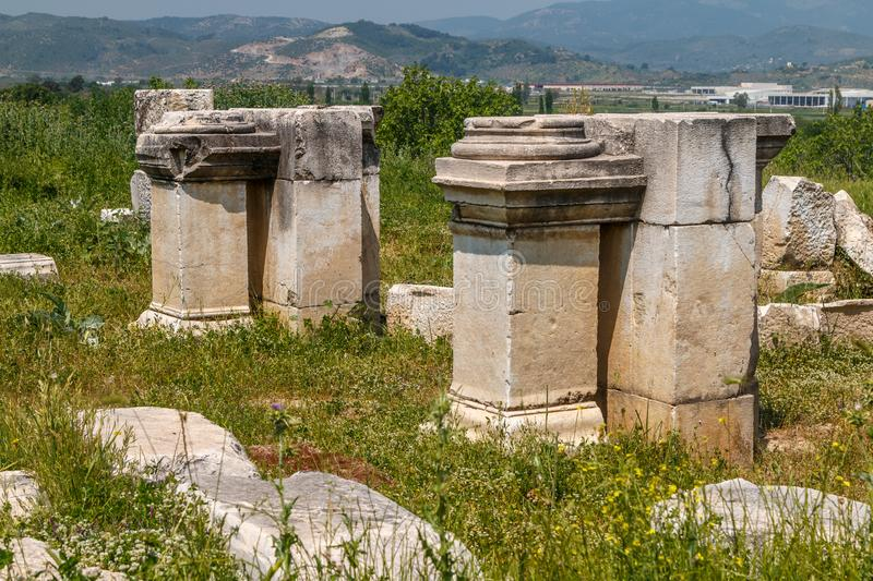 Ruins of the ancient city Magnesia Magnesia on the Maeander royalty free stock image