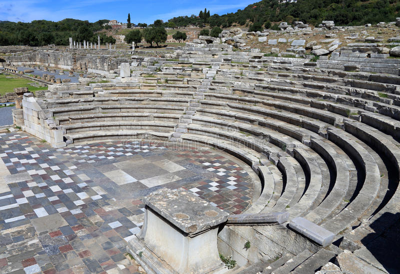 Ruins in ancient city of Messene, Messinia, Greece stock images