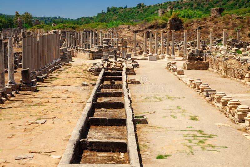 Ruins of ancient city of Perge near Antalya Turkey royalty free stock photography