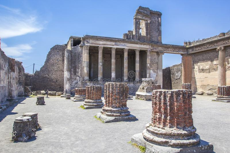 Ruins of the ancient city of Pompeii near the volcano Vizuvius, Pompei, Naples, Italy. royalty free stock photography