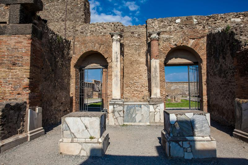 Ruins of the ancient city of Pompeii. The ruins of the ancient city of Pompeii stock images