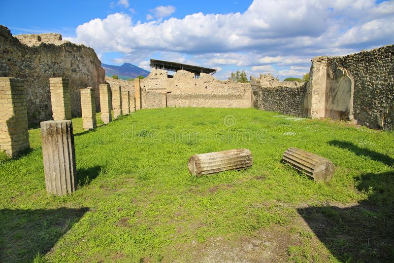 Ruins of ancient city Pompeii. Destroyed by vulcanic eruption of Vesuvio mountain, Italy stock images
