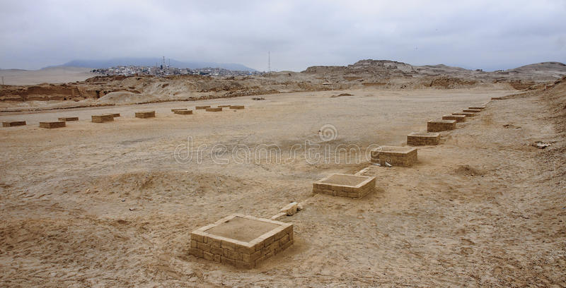 Pre-Columbian cultures archaeological site of Pachacamac stock photo