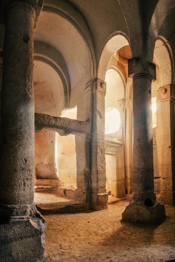 Ancient ruins of White church of Rose Valley in Cappadocia. Ruins and ancient of Column White cave church of Rose Valley in Cappadocia mountain landscape. Travel stock photos