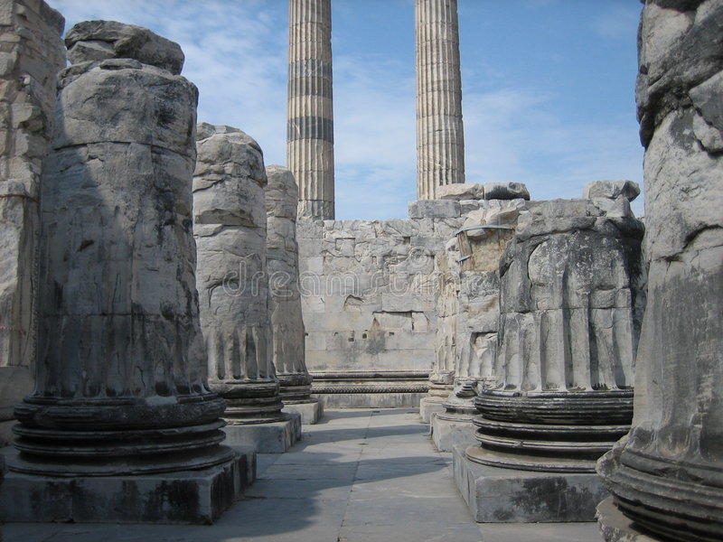 Ruins of ancient columns stock photo