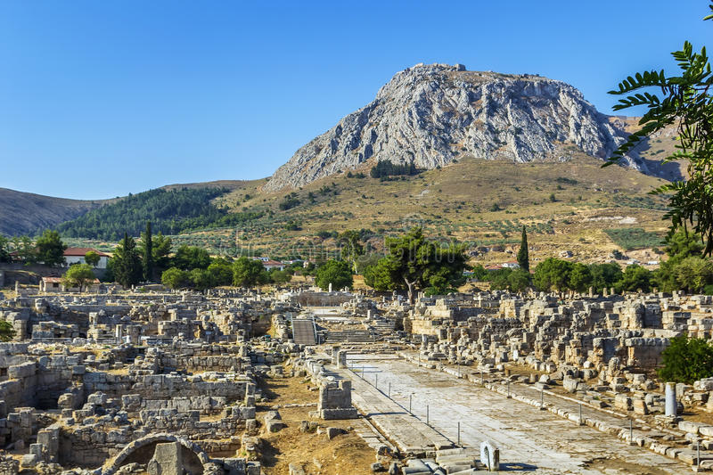 Ruins of Ancient Corinth, Greece. View of ruins of Ancient Corinth in Greece royalty free stock photography
