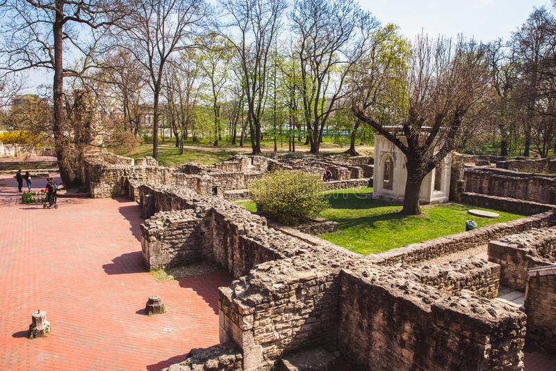 The ruins of an ancient Dominican monastery in the central park on the Margaret island in Budapest, Hungary. In spring stock photos
