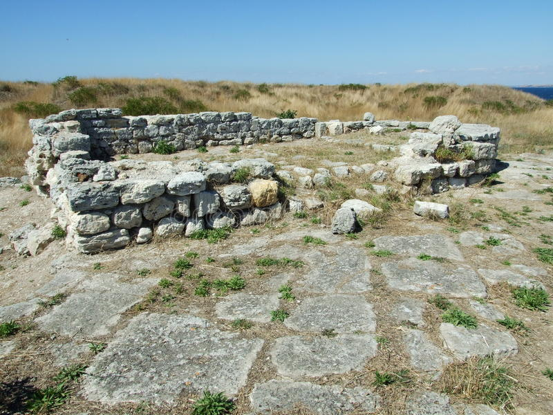 Ruins of ancient dwelling house. In town Chersonesus Taurica (Sevastopol, Crimea, Ukraine royalty free stock photo
