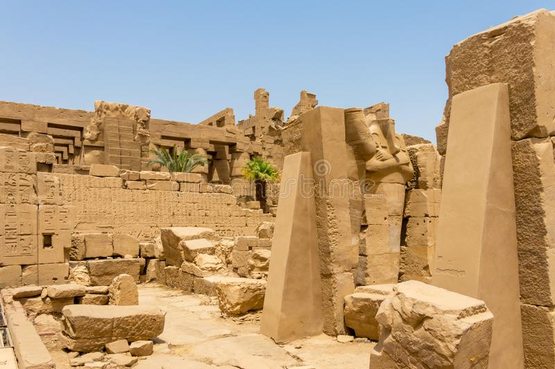 The ruins of an ancient Egyptian temple, Karnak, Luxor. Karnak is the modern-day name for the ancient site of the Temple of Amun at Thebes, Egypt. The Temple of stock photos