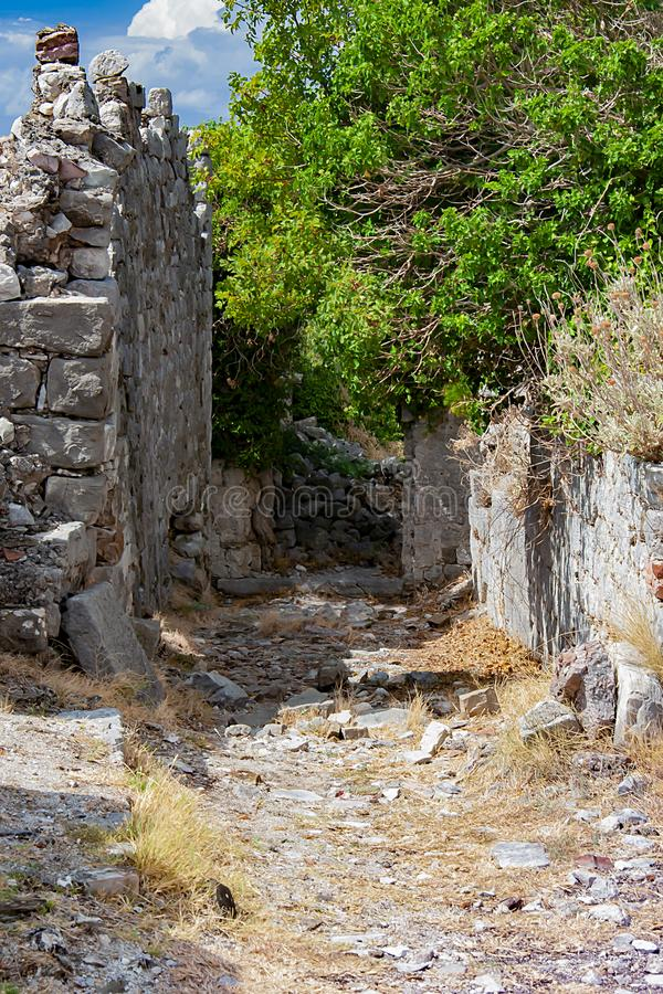 Ruins of ancient fortress in the city of Old Bar in Montenegro. Stone walls royalty free stock image