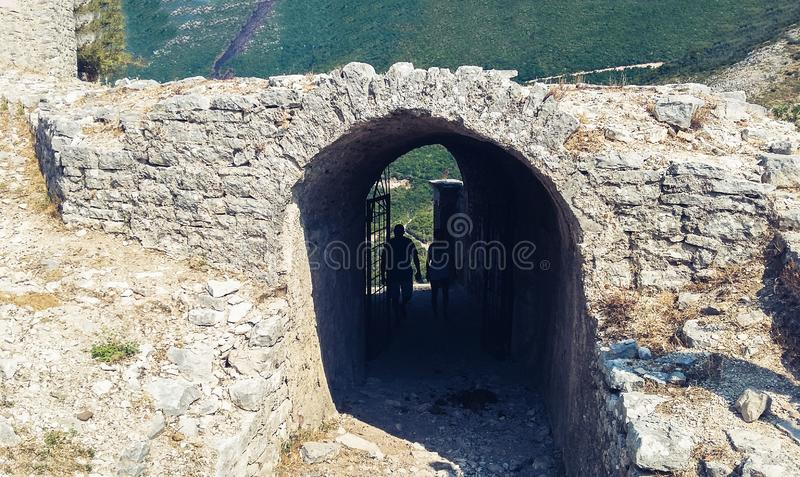 Ruins of an ancient fortress in the mountains near Borsh, Albania stock images