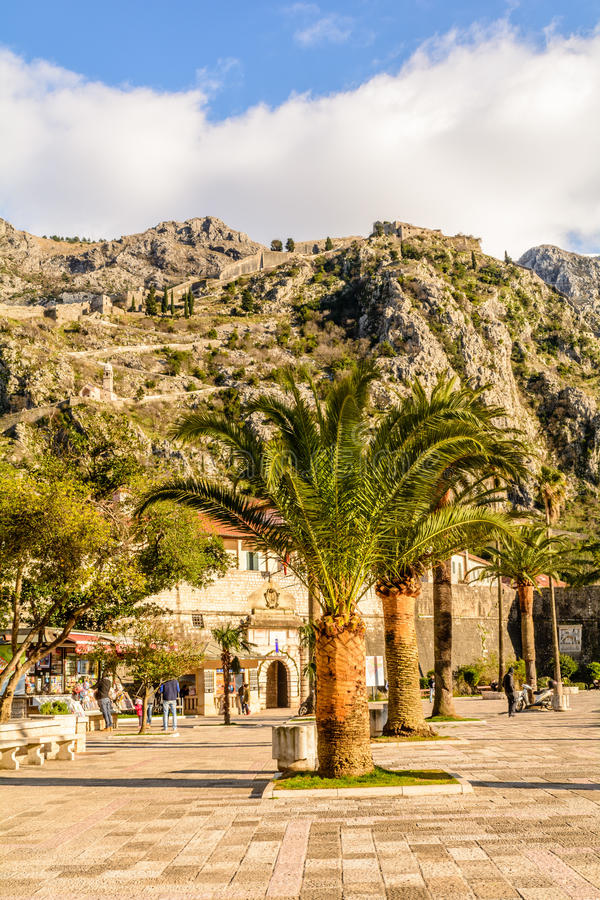 The ruins of the ancient fortress wall in Kotor stock images