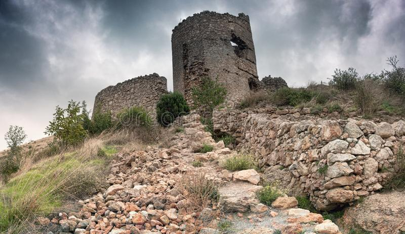 The ruins of an ancient Genoese fortress in the bay of Balaklava royalty free stock image