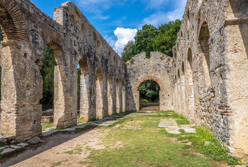 Ruins of Ancient Great Basilica. In Butrint stock images