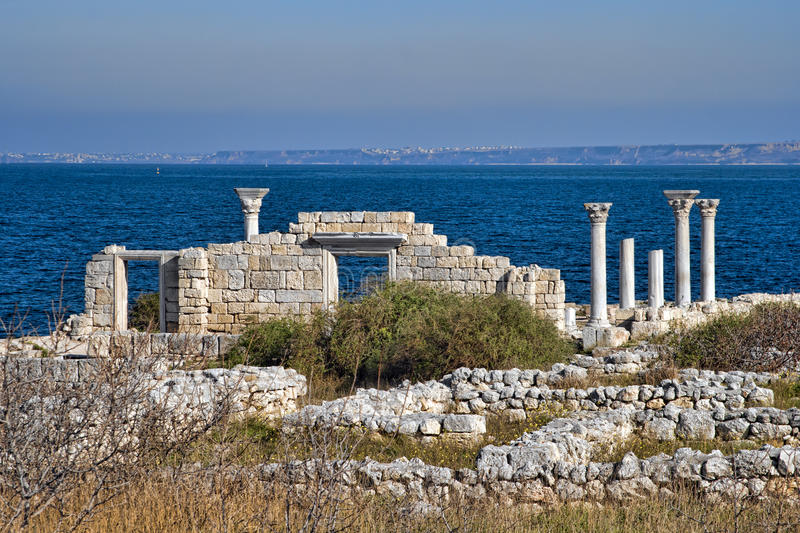 Ruins of Ancient Greek basilica in Chersonesus. Taurica on the Black sea near Sevastopol in Crimea, Ukraine royalty free stock photos
