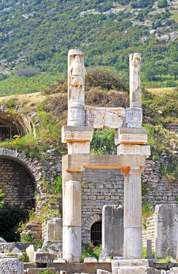 Ruins of the ancient Greek city Ephesus stock photography