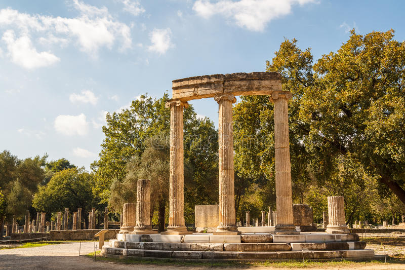 Ruins of the ancient Greek city of Olympia, Peloponnese royalty free stock photography