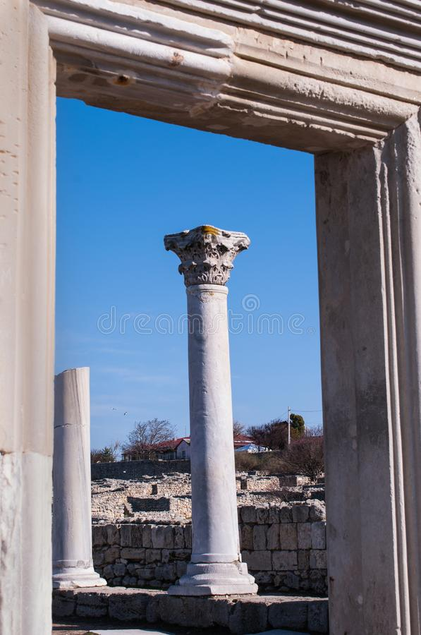 Ruins of the ancient Greek colony Chersonese royalty free stock image