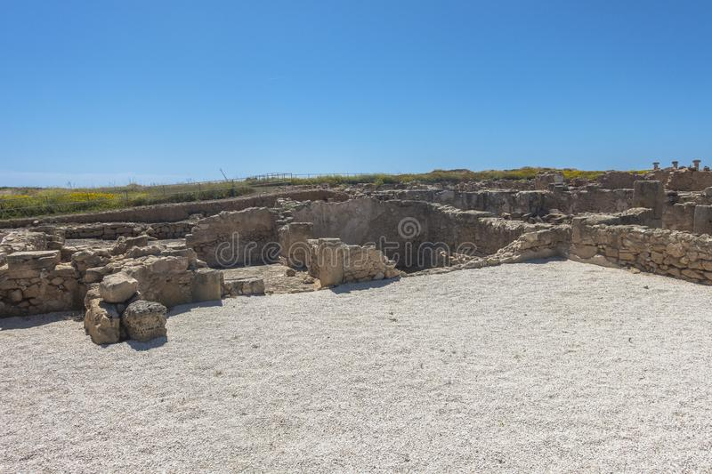 Ruins of the ancient Greek and Roman city of Paphos. Famous, royalty free stock photos