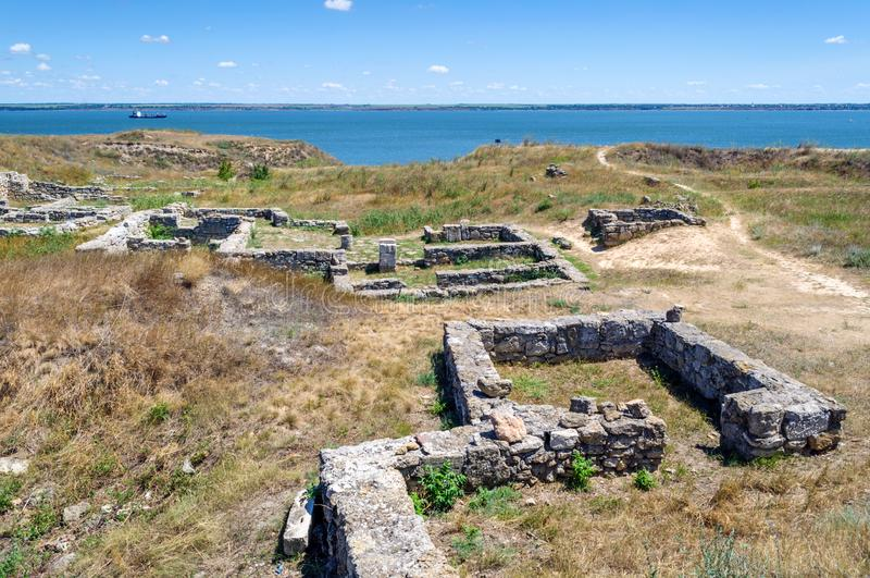 Ruins of the ancient greek settlement Olvio on a summer day, Ukraine, Mykolaiv region. Village Parutino royalty free stock photo