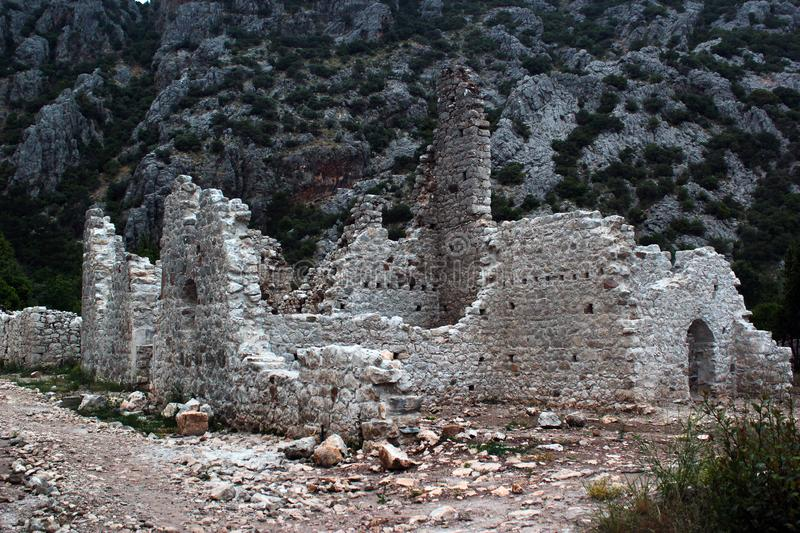 Ruins of ancient Greek town of Olympos near Cirali, Turkey royalty free stock image
