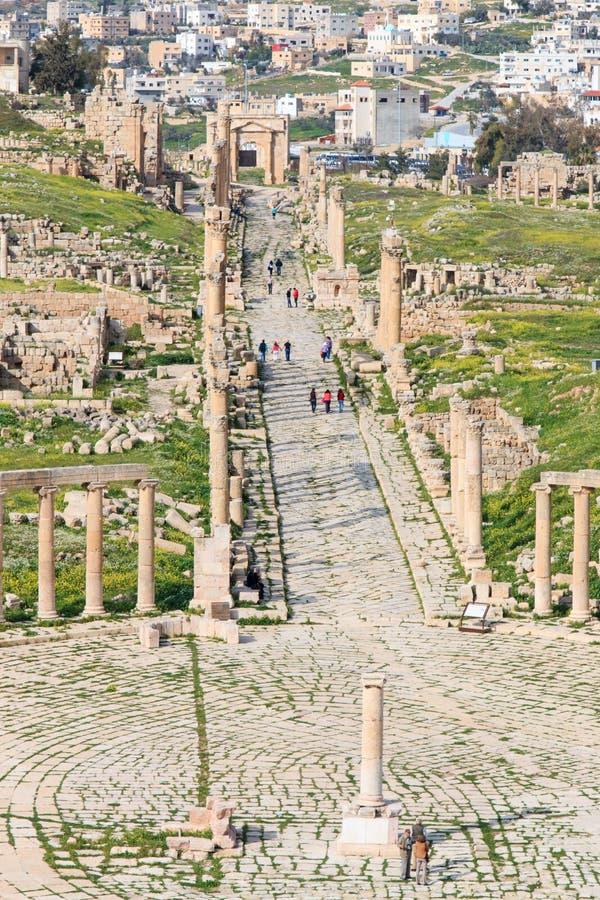 Ruins of the ancient Jerash, the Greco-Roman city of Gerasa in modern Jordan royalty free stock photography