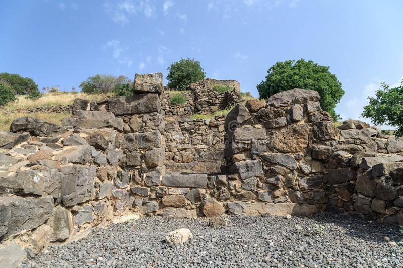 The ruins of the ancient Jewish city of Gamla on the Golan Heights destroyed by the armies of the Roman Empire. The ruins of the ancient Jewish city of Gamla on royalty free stock image