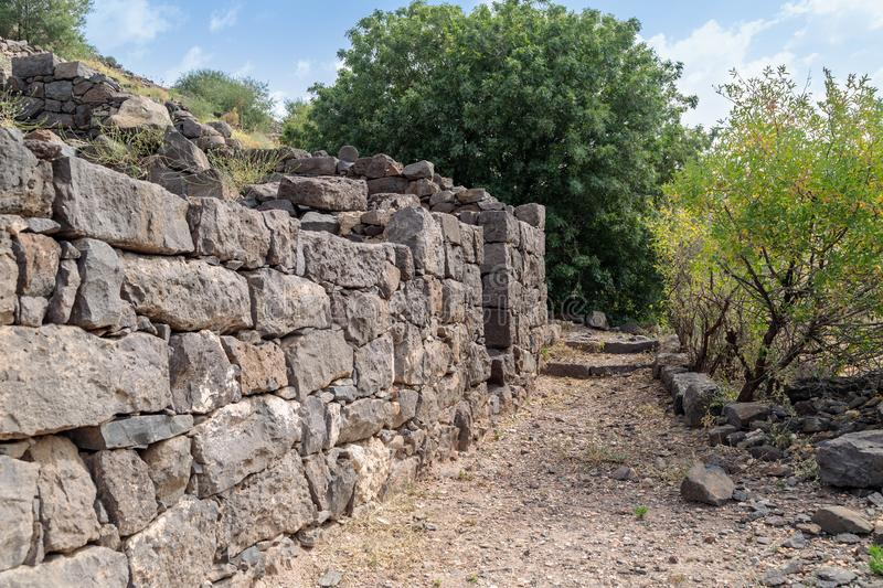 The ruins of the ancient Jewish city of Gamla on the Golan Heights destroyed by the armies of the Roman Empire. The ruins of the ancient Jewish city of Gamla on royalty free stock images