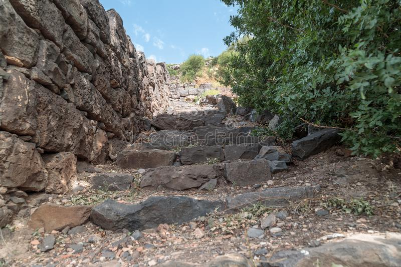 The ruins of the ancient Jewish city of Gamla on the Golan Heights destroyed by the armies of the Roman Empire. The ruins of the ancient Jewish city of Gamla on stock photos