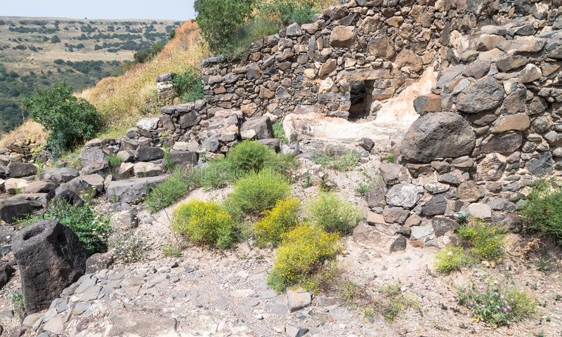 The ruins of the ancient Jewish city of Gamla on the Golan Heights destroyed by the armies of the Roman Empire. The ruins of the ancient Jewish city of Gamla on royalty free stock photos