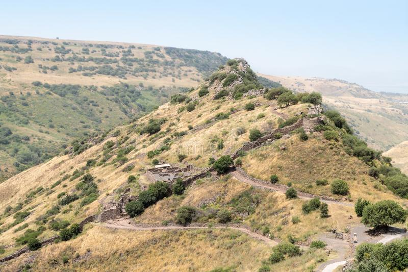 The ruins of the ancient Jewish city of Gamla on the Golan Heights. Destroyed by the armies of the Roman Empire in 67th year AD. The ruins of the ancient Jewish stock photo