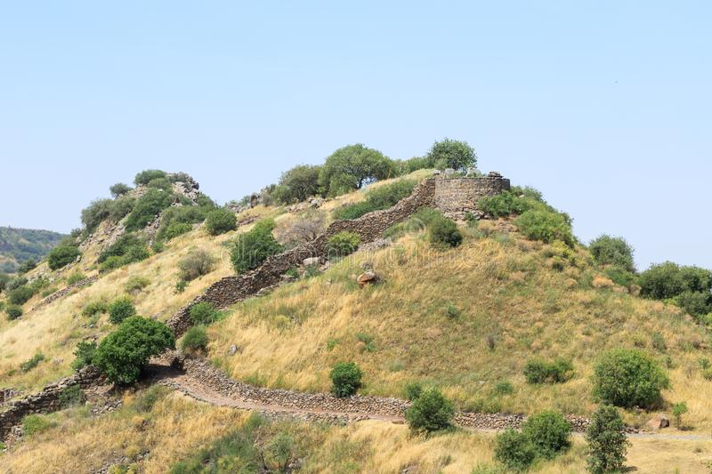 The ruins of the ancient Jewish city of Gamla on the Golan Heights. Destroyed by the armies of the Roman Empire in 67th year AD. The ruins of the ancient Jewish stock photos
