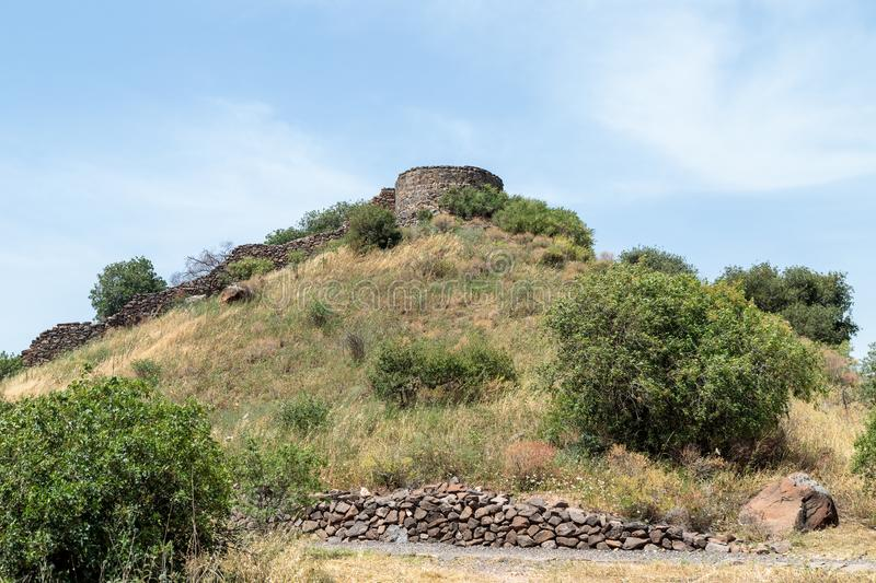 The ruins of the ancient Jewish city of Gamla on the Golan Heights. Destroyed by the armies of the Roman Empire in 67th year AD. The ruins of the ancient Jewish stock image