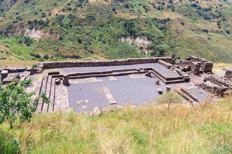 The ruins of the ancient Jewish city of Gamla on the Golan Heights. Destroyed by the armies of the Roman Empire in 67th year AD. The ruins of the ancient Jewish royalty free stock image