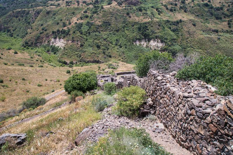 The ruins of the ancient Jewish city of Gamla on the Golan Heights. Destroyed by the armies of the Roman Empire in 67th year AD. The ruins of the ancient Jewish royalty free stock images